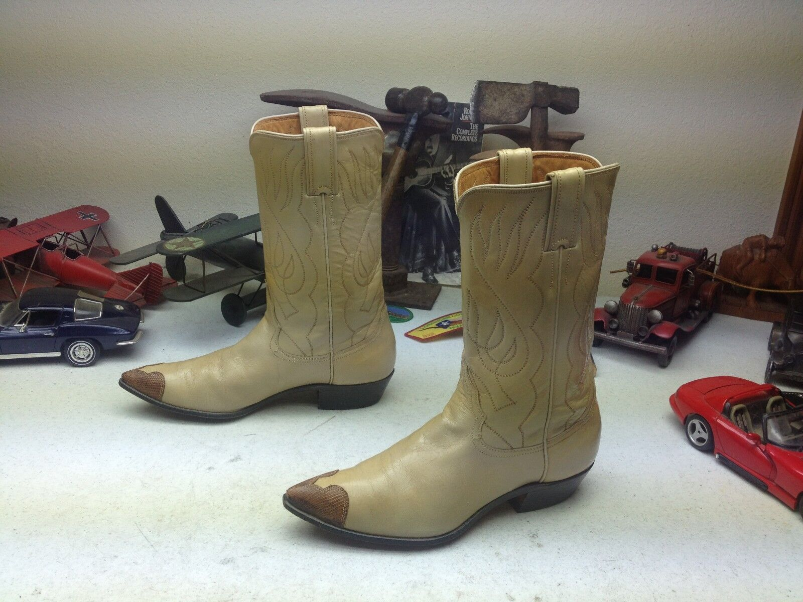 DISTRESSED JUSTIN USA BUTTER LEATHER BOOTS WESTERN POINTY ROCKABILLY DANCE BOOTS LEATHER 8 B c2f145