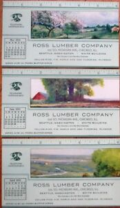 Chicago-IL-Art-Deco-1943-Advertising-Blotters-SET-OF-THREE-w-Rulers-Ross-Lumber