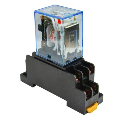 Lot of 2 240V A//C Coil Omron LY2N-J 10A Cube Relay with Socket Base PTF08A