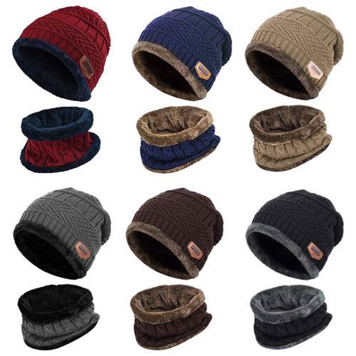 Men Winter Baggy Beanie Hat and Scarf Set Warm Fleece Knitted Cap Ski Skull Hat
