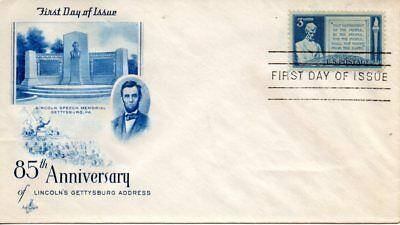4412 Ausgezeichnete Us Fdc #978 Gettysburgh Address QualitäT In Blau Artcraft / Sorte 1c