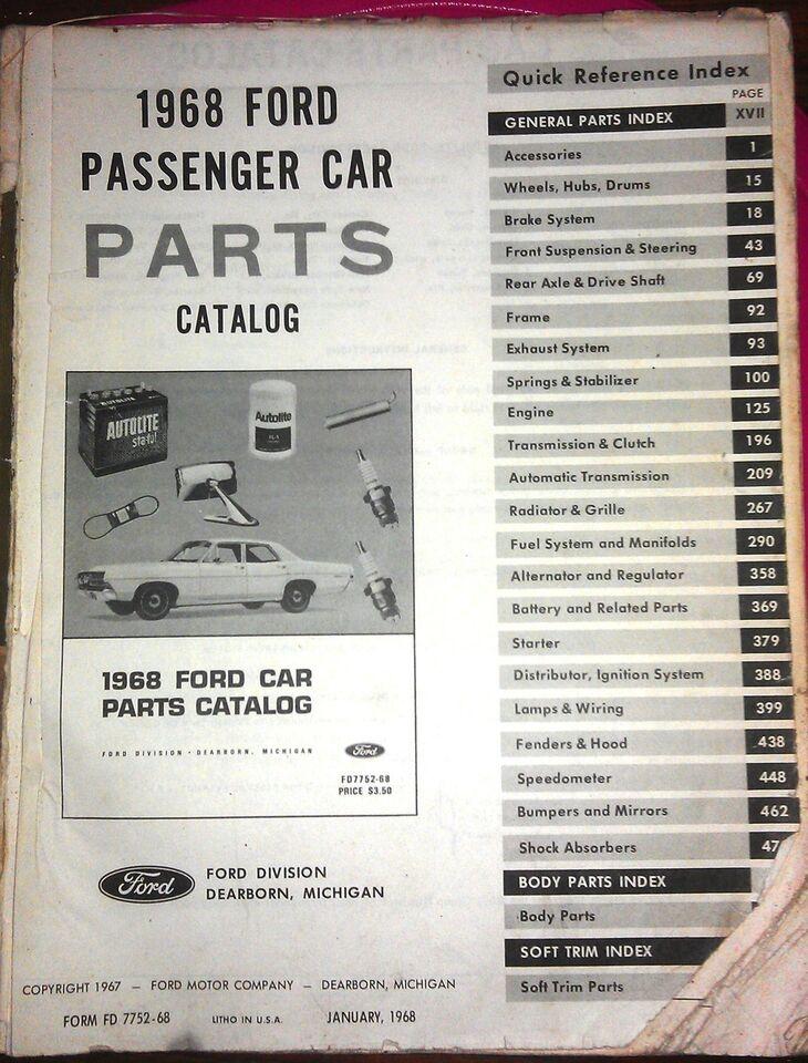 Parts Catalog, 1968 Ford .