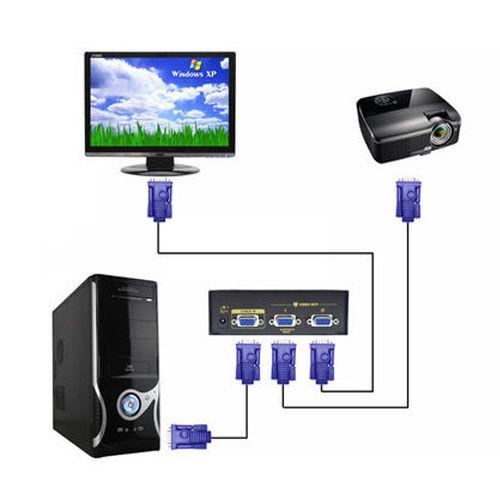 Free shipping 2 Port XVGA VGA SVGA Splitter 1 PC to 2 LCD CRT Monitor TV Laptop