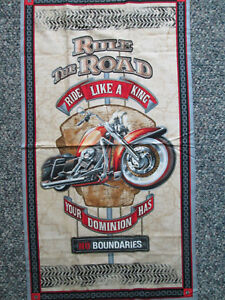 Details about BIKER HOGS MOTORCYCLE MOTORCYCLES DIGITAL ART PRINTING COTTON  FABRIC PANEL