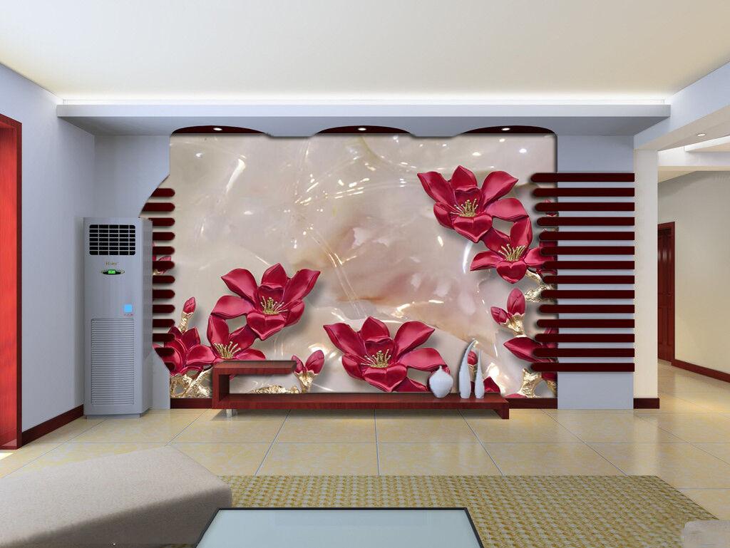 3D rot Flower Plant Marble 1026 Wall Paper Wall Print Decal Wall AJ WALLPAPER CA