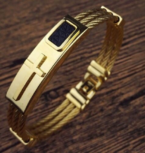 Quality Stainless Steel Cross Cable Wire Silver Gold Bracelet Bangle Mens Womens