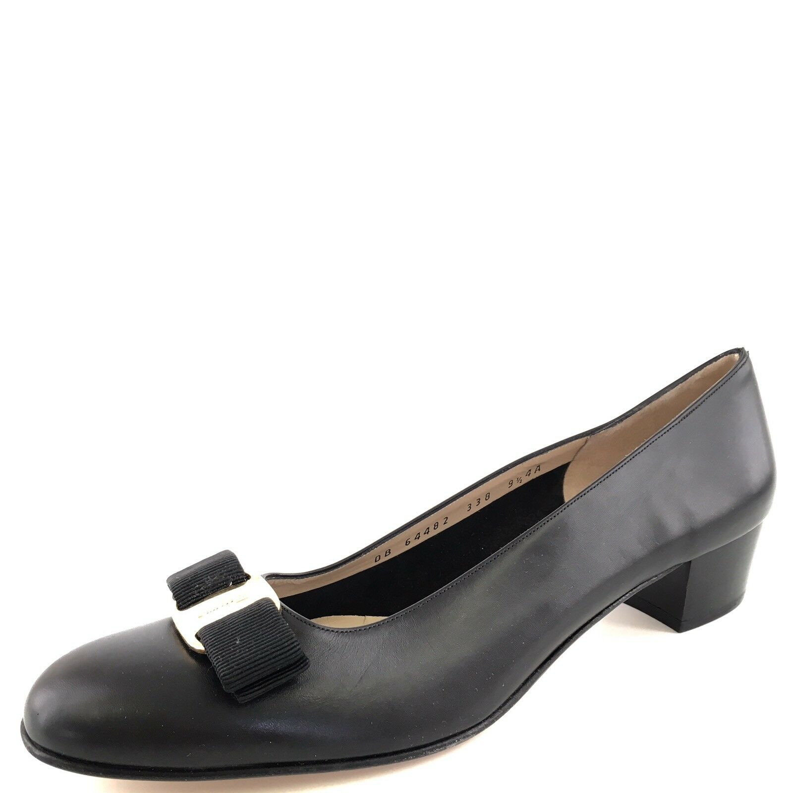 Salvatore Ferragamo Black Leather Bow Low Flats Women's Size 9.5 4A*