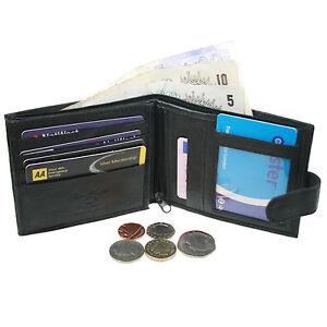 Herren-Weiche-Luxus-Schwarz-Leder-Brieftasche-F-r-Kreditkartenhalter-1304