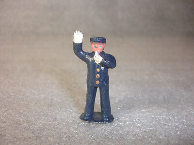 Old Vtg Collectible Lead Policeman Man Standing Blowing A Whistle Figurine