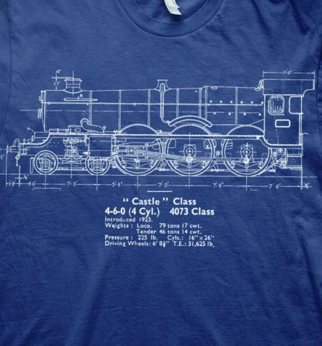 Live steam castle class model plans trains GWR t shirt