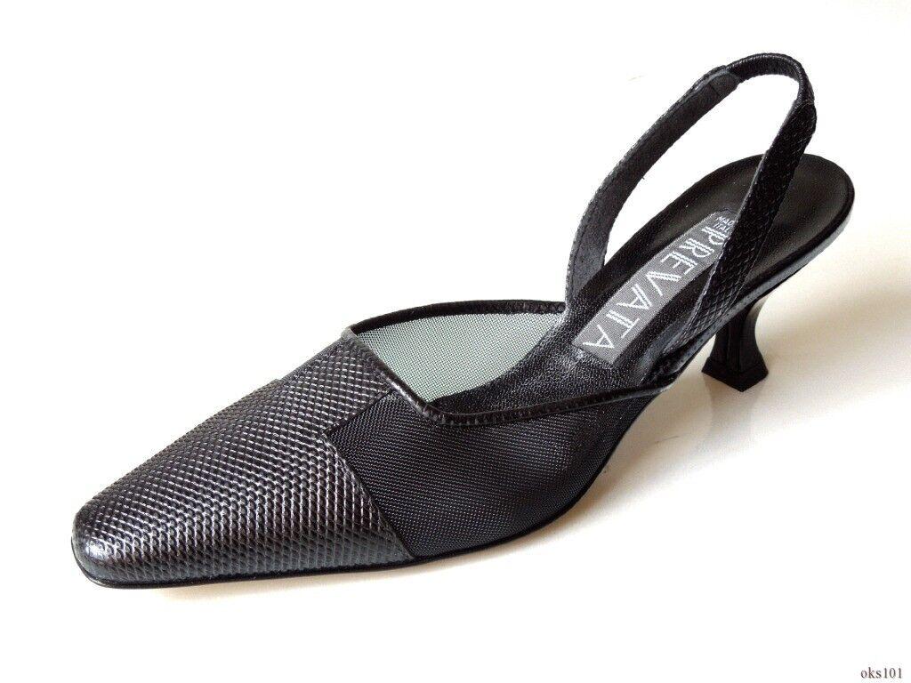 Nuevo  355 Prevata 'Dome' 'Dome' 'Dome' Negros Cuero malla Zapatos Zapatos de Italia-Hermoso  A la venta con descuento del 70%.