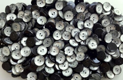 Small 15mm 24L Light Silver Grey Pearlescent 2 Hole Craft Sewing Buttons J89