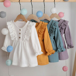 1-5Y-Toddler-Kids-Baby-Girls-Party-Solid-Linen-Ruffles-Long-Sleeve-Dress-Clothes
