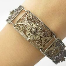 Antq Solid Silver Unique Handmade Filigree Wide Link Bracelet 7.5""