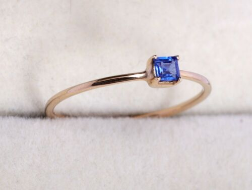 Details about  /9k Blue Sapphire Square Stacking Ring Dainty Blue Sapphire Gold Ring minimal