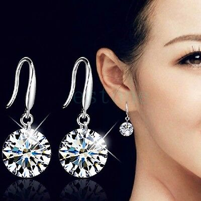 1Pair Fashion Women  Ear Hook Crystal Rhinestone Earrings Cubic Zirconia AAA