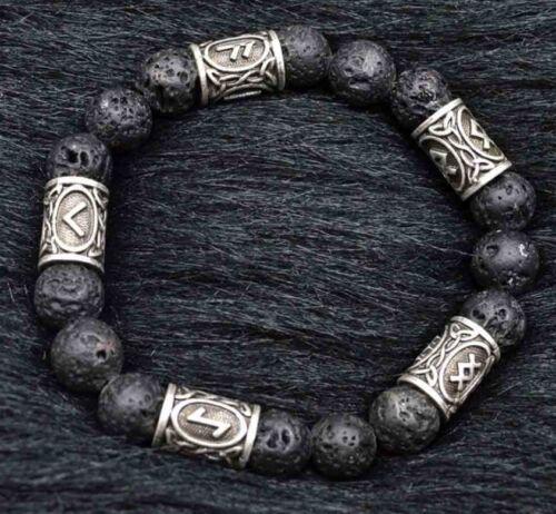 Nordico Viking angelical pulsera lava piedra perla brazalete angelical vikingo DIY set