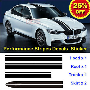 M Performance Hood Roof Trunk Skirt Stripe Decal Sticker