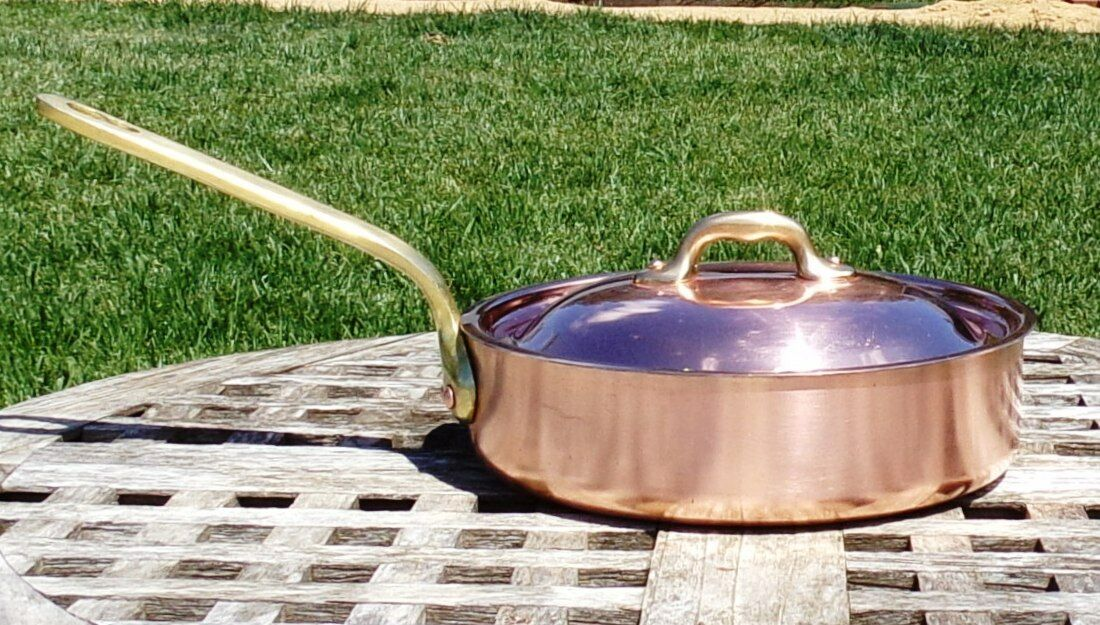 Copper 8  Saute Pan w  Lid, tin lining & brass handle, 1.7 mm, Made in France