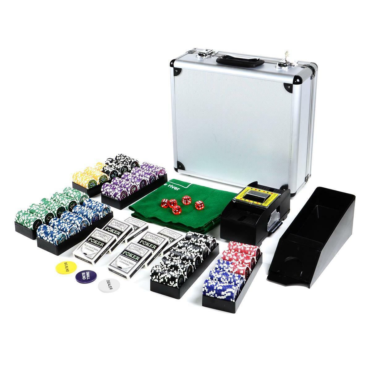 Poker Mallette set DELUXE 600 laser Ocean champion jetons de poker arrondi Malette