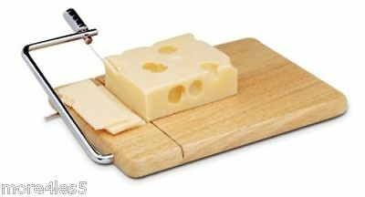 NEW APOLLO WIRE CHEESE SLICER WITH WOOD WOODEN CHEESE BOARD