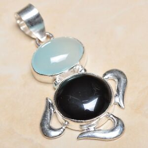 Black Agate and Sterling Pendant with Onyx