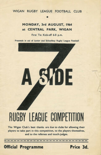 Wigan Sevens 3 Aug 1964 at Central Park RUGBY LEAGUE PROGRAMME
