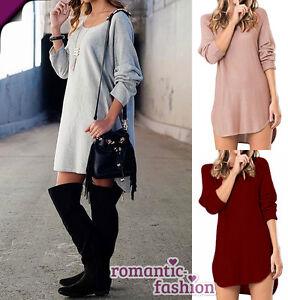Groesse-34-44-Longshirt-Tunika-Sweater-Top-Kleid-NEU-SOFORT