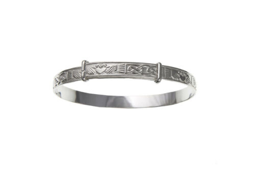Solid Silver Baby Bangle 18 months - 3 years Celtic Claddagh Adjustable Hallmark