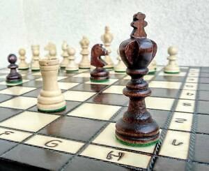 SALE-Schach-edles-Olympisches-Schachspiel-aus-Holz-Schachbrett-Handarbeit-35x35