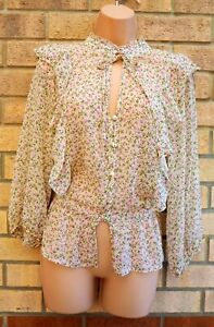 PRIMARK CREAM LILAC GREEN FLORAL VINTAGE FRILL TIE NECK BLOUSE SHIRT TOP 16 XL