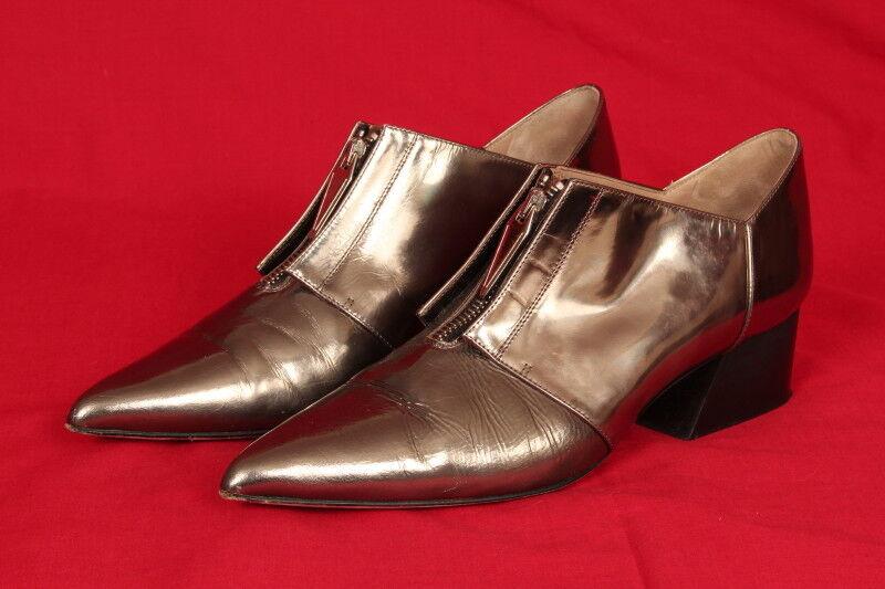 Métallique Bronze Chaussures par  Atlanta Wella  avec Avant zippées, taille 6, 1.5 in (environ 3.81 cm) Talon