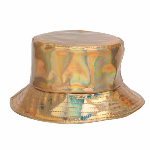 SHINY HOLOGRAPHIC BUCKET HAT UNICORN RAVE FESTIVAL SUN KIDS RAINBOW PARTY HATS