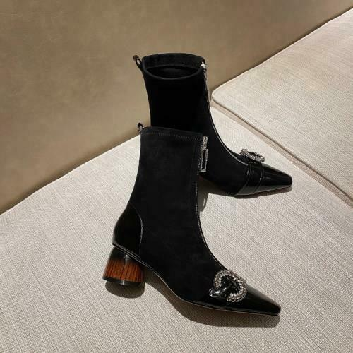 Women Pointy Toe Rhinestones Block Heel Leather Ankle Boot Winter Shoes Q870