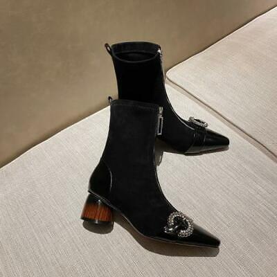 Ladies Faux Leather Ankle Boots Low Block Heels Chelsea Zip Up Women Shoes C519