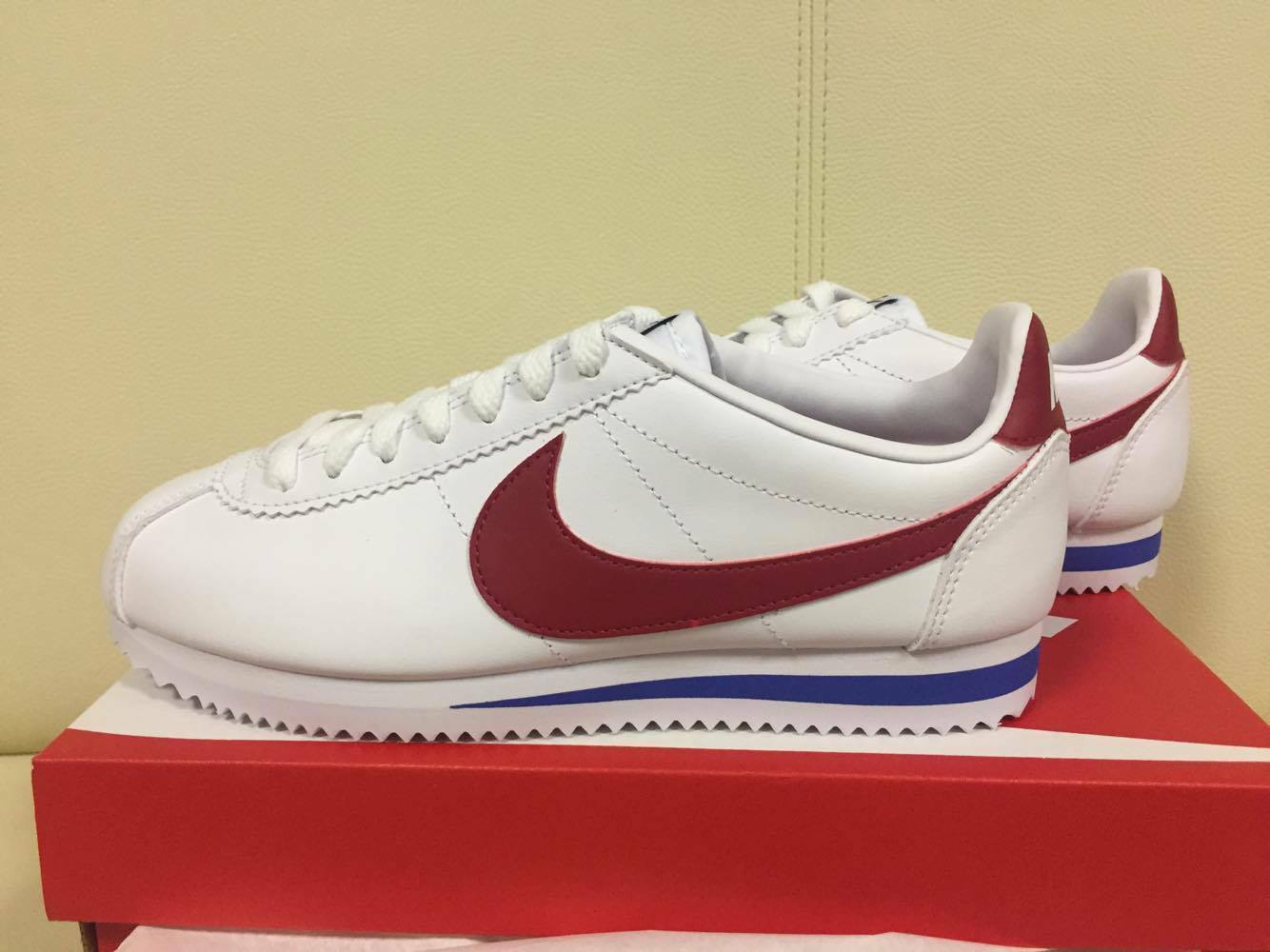 Nike WMNS Classic Cortez Leather 807471-103 Forrest Gump White Varsity Red Shoes