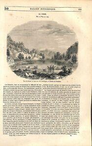 Panorama-de-la-Corse-Lac-sur-la-Montagne-Dessin-de-Freeman-GRAVURE-PRINT-1851