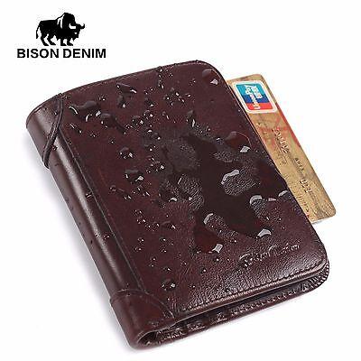 d69a1d13aa8e BISON DENIM RFID Blocking Genuine Leather Mens Wallet Card Holder Wallet    eBay