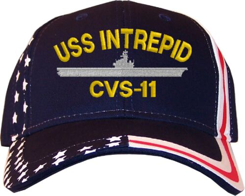 USS Intrepid CVS-11 Embroidered Stars /& Stripes Baseball Cap Hat