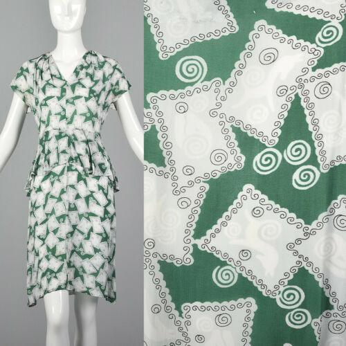 XS 1940s Novelty Print Dress