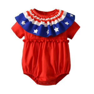 ade806acbbb3 Image is loading Toddler-Infant-Baby-Girls-039-Stars-Striped-Rompers-