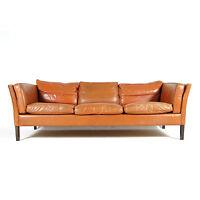 Retro Vintage Danish Modern Rosewood Tan Leather 3 Seat Seater Sofa 70s Mogensen