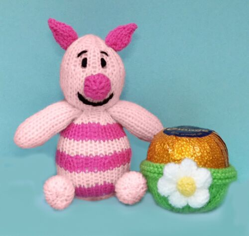 Piglet Winnie the Pooh inspired Sweet Pot KNITTING PATTERN holds choc orange