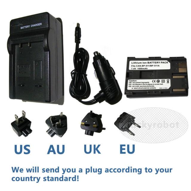 BP-511A Battery + Charger for Canon EOS 20D 30D 300D 40D 50D 5D BP-512