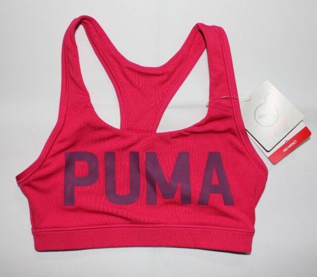 8ca678b4 PUMA Womens Powershape Forever Love Potion Pink Spellout Logo Sports Bra  XSmall