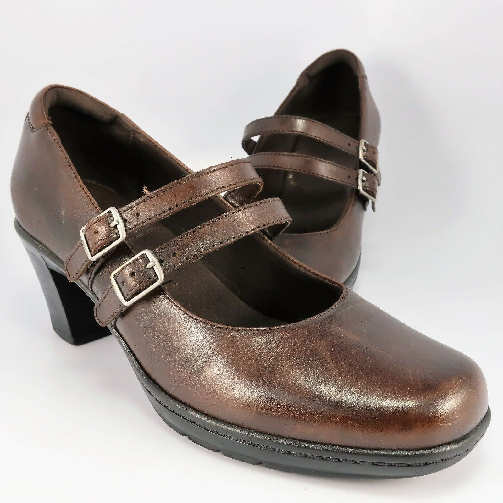 Clarks 2-Strap Mary Jane Pumps Womens Size 7.5M Brown Leather Slip-On Loafer