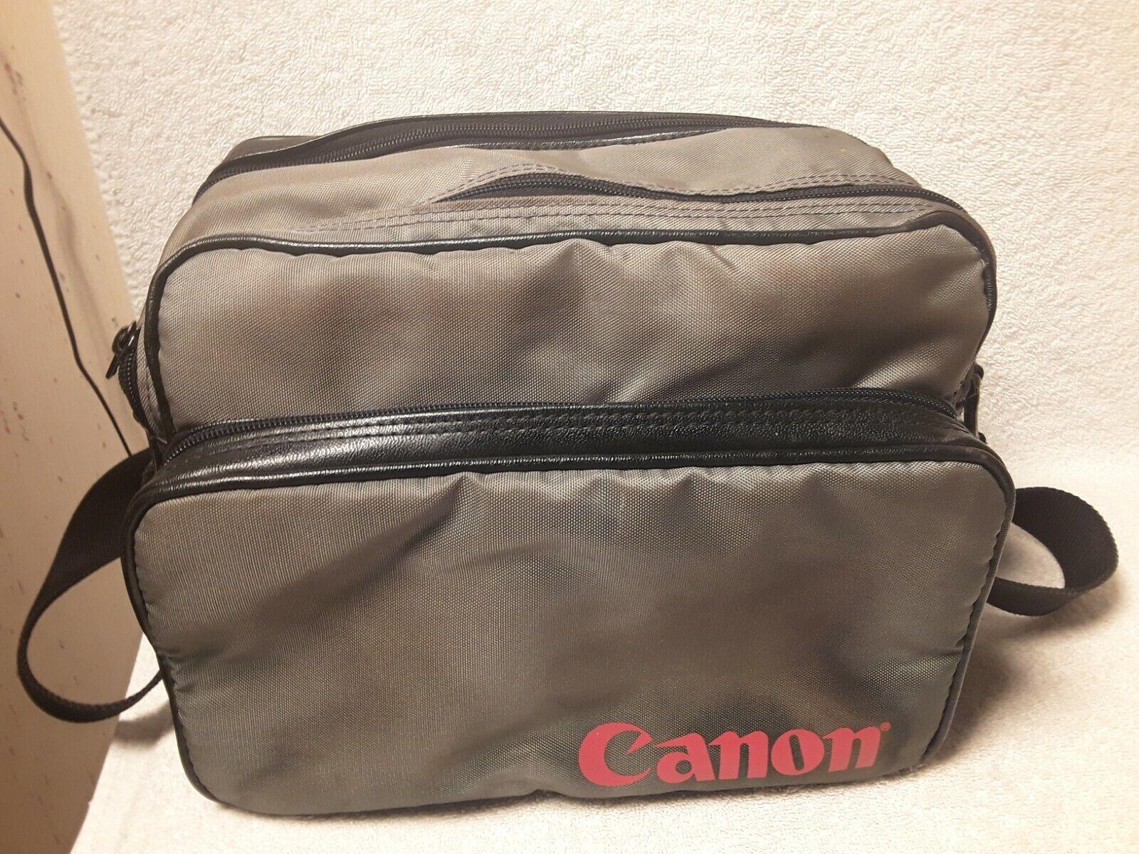 Vintage Canon Camera Bag with Strap, Grey Nylon Black Leather Trim Retro. E1