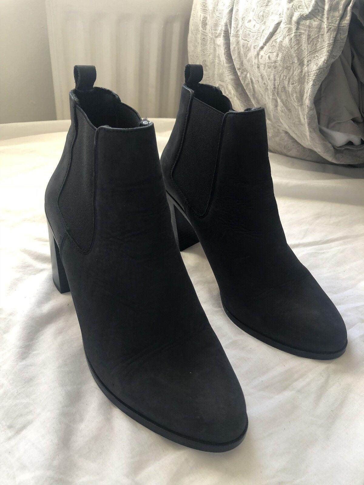 Nero Stivali Stivali Stivali Chelsea Tacco a Blocco 662375