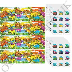 12-Kids-Dinosaur-Jigsaw-Puzzles-amp-144-Tattoos-12-Packs-Of-12-Party-Filler