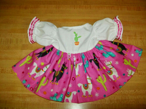 """PINK LLAMA AND CACTUS DRESS W// 5 BUTTON CHOICES for 16-18/"""" Cabbage Patch Kids"""